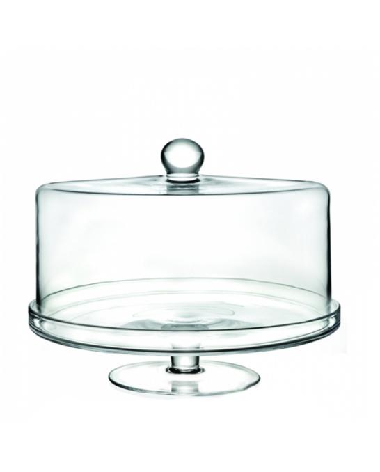 Decorazione Guarnizione ,Alzata Porta dolci con cupola piana in cristallo RCR