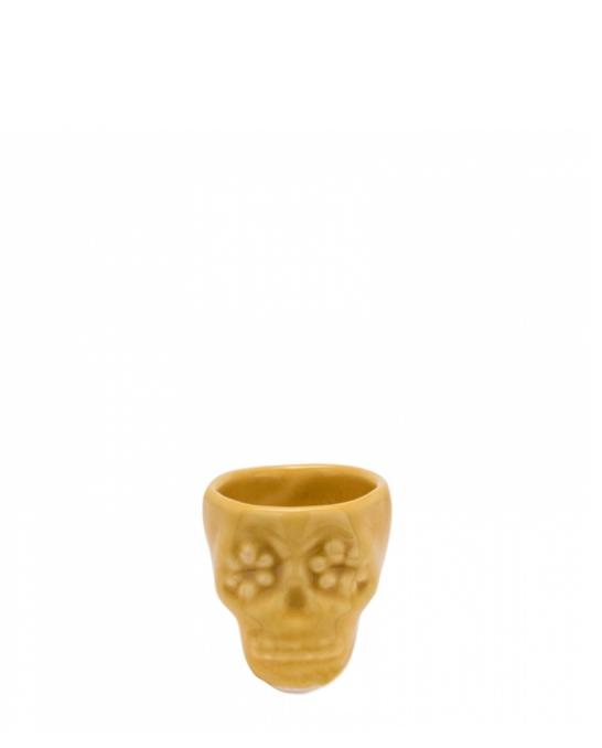 Bicchieri da Cocktail ,Bicchiere shot teschio color miele in terracotta con fiori 3 cl