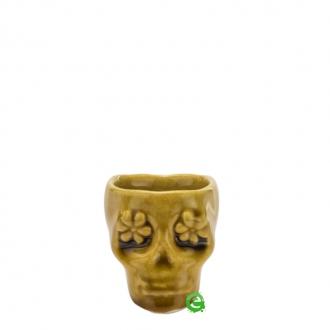 Bicchieri da Cocktail ,Bicchiere shot teschio color senape in terracotta 3 cl
