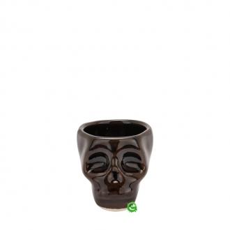 Bicchieri da Cocktail ,Bicchiere shot teschio colore marrone scuro in terracotta 3 cl