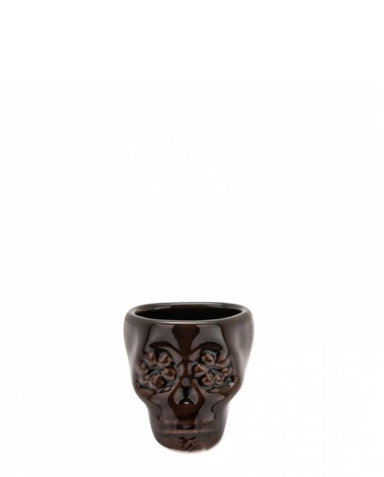 Bicchieri da Cocktail ,Bicchiere shot teschio colore marrone scuro in terracotta con fiori 3 cl