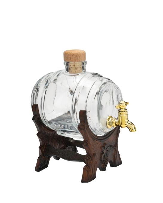 Botti e Alambicchi ,Botte in vetro 50 cl con sostegno e rubinetto dorato