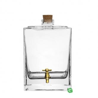 Botti e Alambicchi ,Botte in vetro con rubinetto oro 2,5 lt