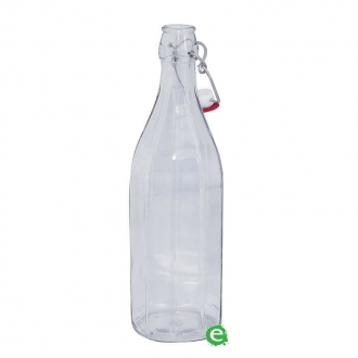 Bitters Bottle,Bottiglia Costolata in vetro per sciroppi e succhi di frutta con tappo 1 lt