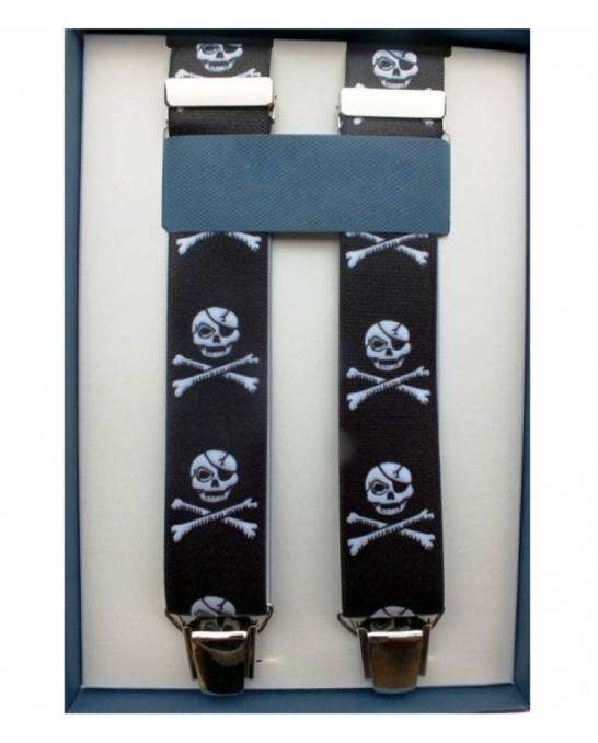 Abbigliamento per Barman ,Bretelle colore nero clip argento motivo teschio
