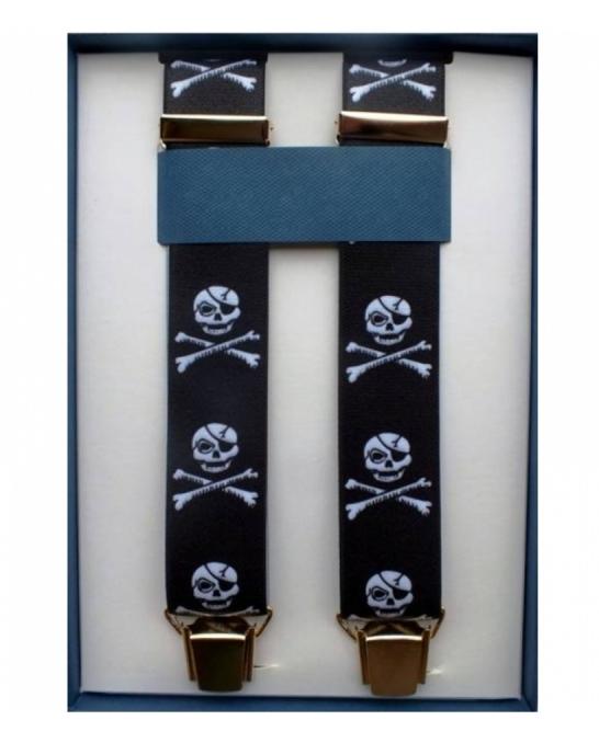 Abbigliamento per Barman ,Bretelle colore nero clip oro motivo teschio