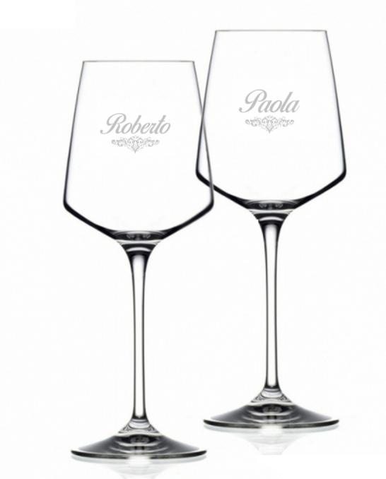 Bicchieri da Vino e Acqua personalizzati ,Calice Vino bianco Cristallo Luxion Aria Art Nouveau RCR 46 cl 2 pezzi