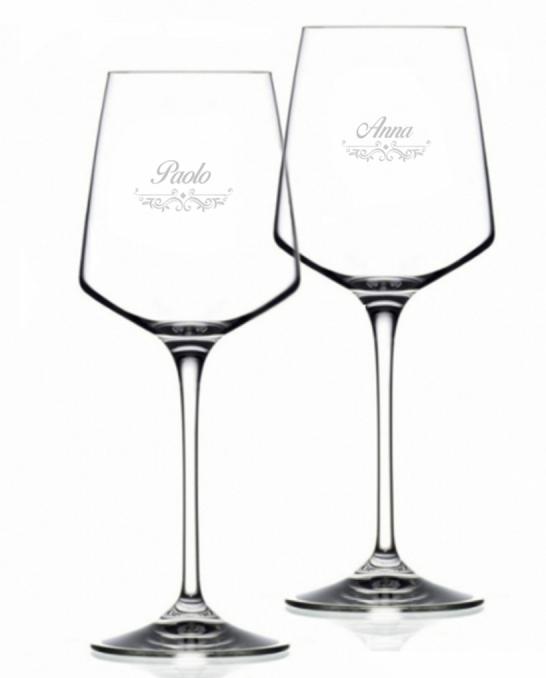 Bicchieri Personalizzati ,Calice Vino bianco Cristallo RCR 46 cl Modello Vittoriano 2 pezzi