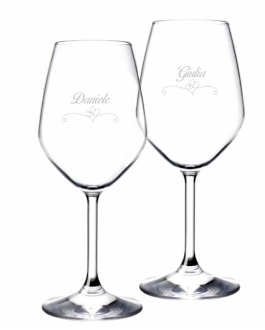 Bicchieri da Vino e Acqua personalizzati ,Calice Vino bianco Modello Cuori 44.5 cl 2 pezzi
