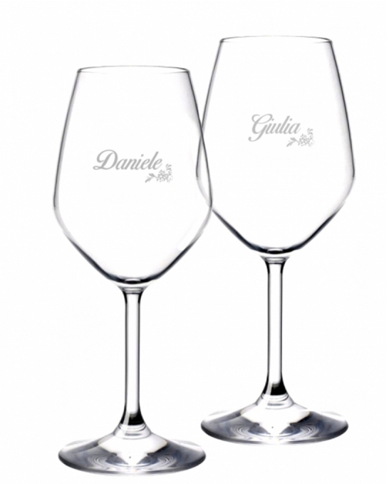 Bicchieri da Vino e Acqua personalizzati ,Calice Vino bianco Modello Floreale 44.5 cl 2 pezzi