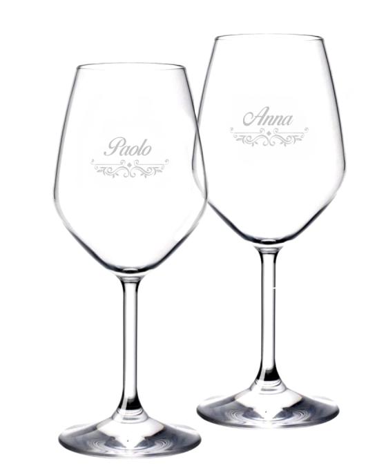 Bicchieri da Vino e Acqua personalizzati ,Calice Vino bianco Modello Vittoriano 44.5 cl 2 pezzi