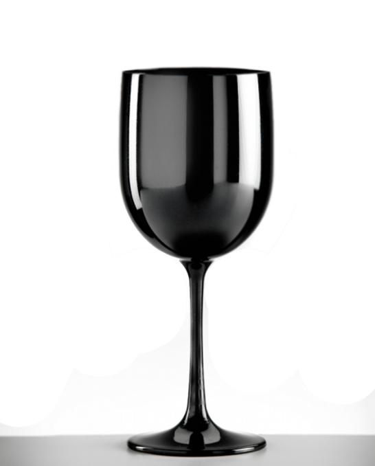 Bicchieri in Plastica ,Calice vino in policarbonato nero 48 cl 4 pezzi