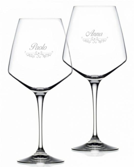 Bicchieri Personalizzati ,Calice Vino rosso Cristallo RCR 79 cl Modello Vittoriano 2 pezzi
