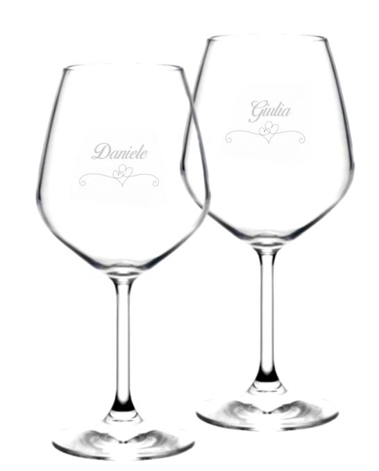 Bicchieri da Vino e Acqua personalizzati ,Calice Vino rosso Modello Cuori 52.5 cl 2 pezzi