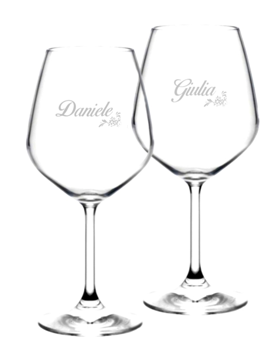 Bicchieri da Vino e Acqua personalizzati ,Calice Vino rosso Modello Floreale 52.5 cl 2 pezzi