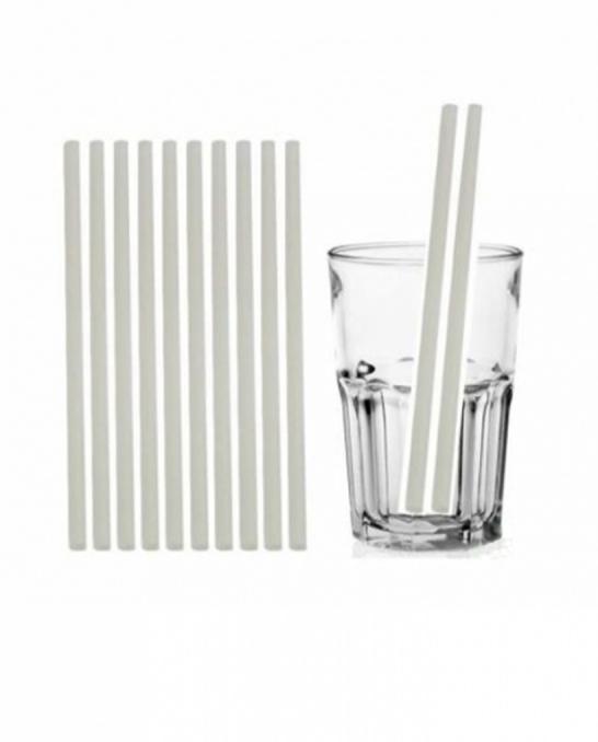 Cannucce e Tovaglioli ,Cannucce Biodegradabili e compostabili dritte colore Bianco 21cm Conf.500 pz