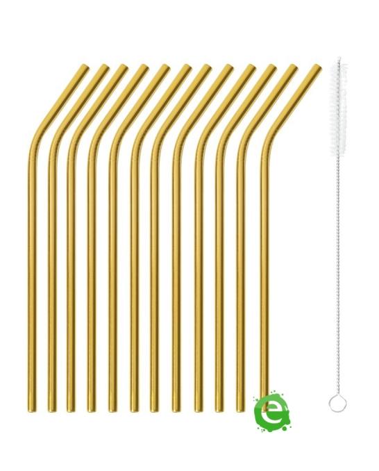 Cannucce e Tovaglioli ,Cannucce Curve color oro 21.5 cm con scovolino 12pz