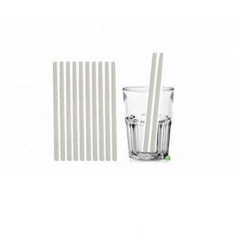Cannucce e Tovaglioli ,Cannucce dritte colore Bianco 21cm Biodegradabili e Compostabili Conf.500 pz