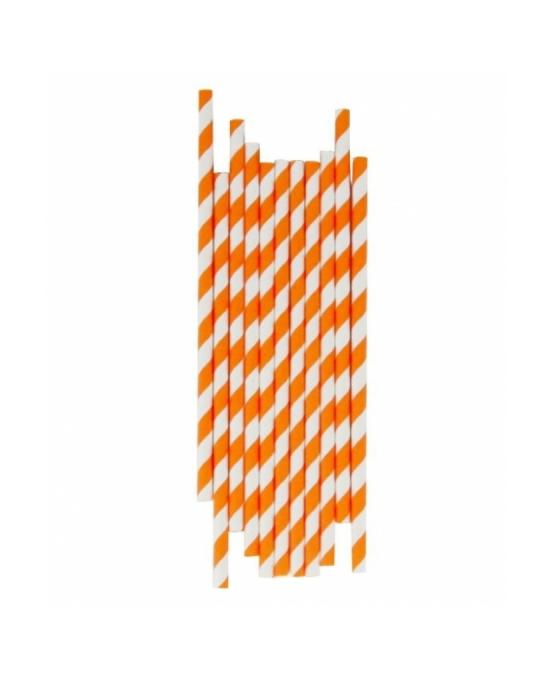Cannucce e Tovaglioli ,Cannucce in Carta Arancio e Bianco Conf. 25 pz