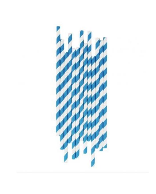 Cannucce e Tovaglioli ,Cannucce in Carta Blu e Bianco Conf. 25 pz