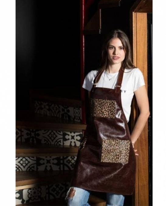 Abbigliamento per Barman ,Grembiule Angelina in vera pelle