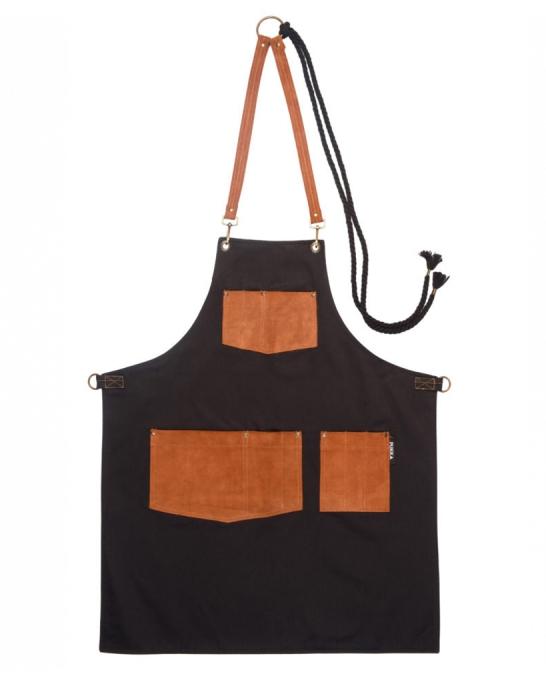 Abbigliamento per Barman ,Grembiule Blended Brown in gabardine e vera pelle