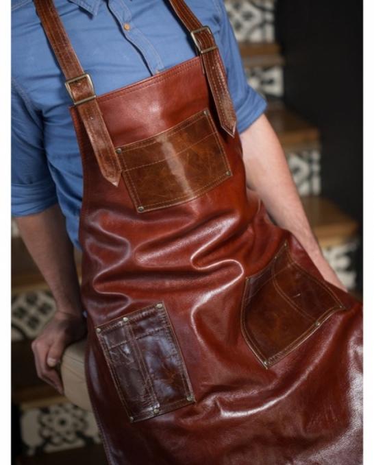 Abbigliamento per Barman ,Grembiule Chocolate Brown in vera pelle