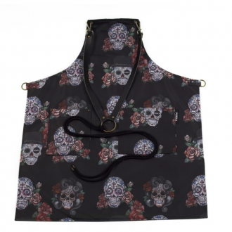 Abbigliamento per Barman ,Grembiule Skull Black in gabardine