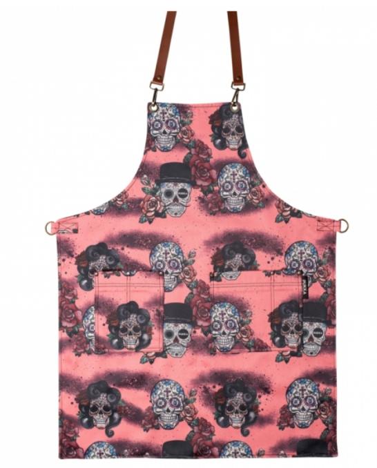 Abbigliamento per Barman ,Grembiule Skull Pink in gabardine