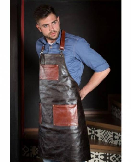 Abbigliamento per Barman ,Grembiule Woodie in vera pelle