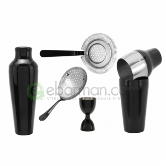 Kit e valigette Barman ,Kit Barman Nero Lucido Shake Set 6pz