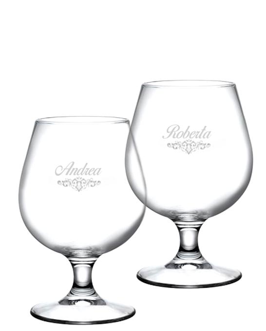 Bicchieri Personalizzati Coppia ,Modello Art Nouveau Bicchiere Birra snifter 53 cl 2 pezzi