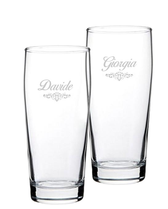 Bicchieri Personalizzati Coppia ,Modello Art Nouveau Bicchiere Birra Willy 33 cl 2 pezzi