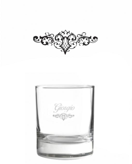 Bicchieri Personalizzati Singoli ,Modello Art Nouveau Bicchiere whisky in vetro 30 cl 1 pezzo