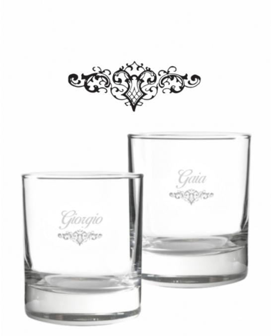 Bicchieri Personalizzati Coppia ,Modello Art Nouveau Bicchiere whisky in vetro 30 cl 2 pezzi