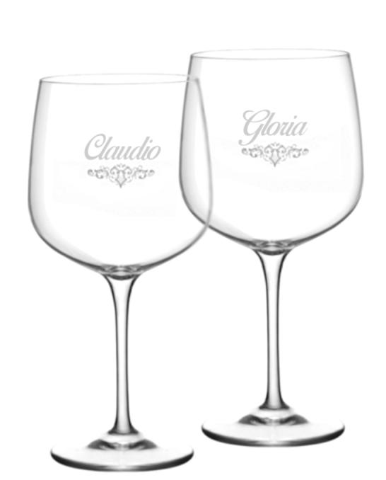 Bicchieri Personalizzati Coppia ,Modello Art Nouveau Calice Gin Tonic Vetro Cristallino 76 cl 2 pezzi