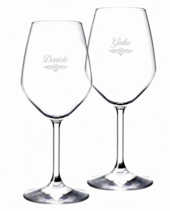 Bicchieri Personalizzati Coppia ,Modello Art Nouveau Calice Vino bianco 44.5 cl 2 pezzi