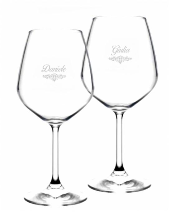 Bicchieri Personalizzati Coppia ,Modello Art Nouveau Calice Vino rosso 52.5 cl 2 pezzi