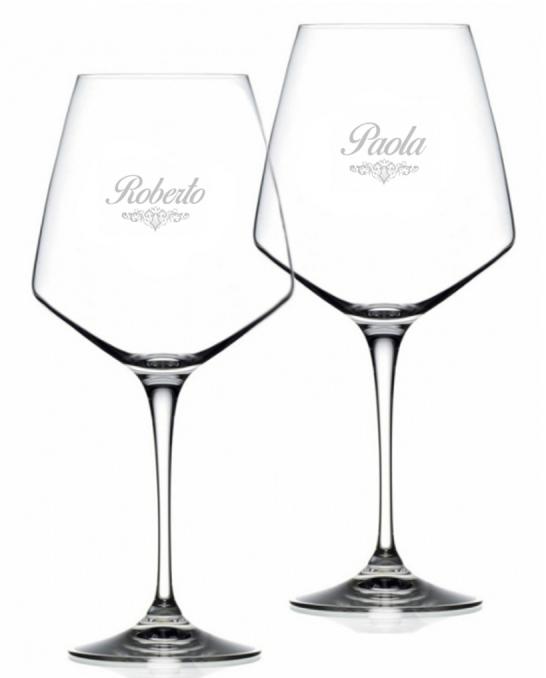Bicchieri da Vino e Acqua personalizzati ,Modello Art Nouveau Calice Vino rosso Cristallo RCR 79 cl 2 pezzi