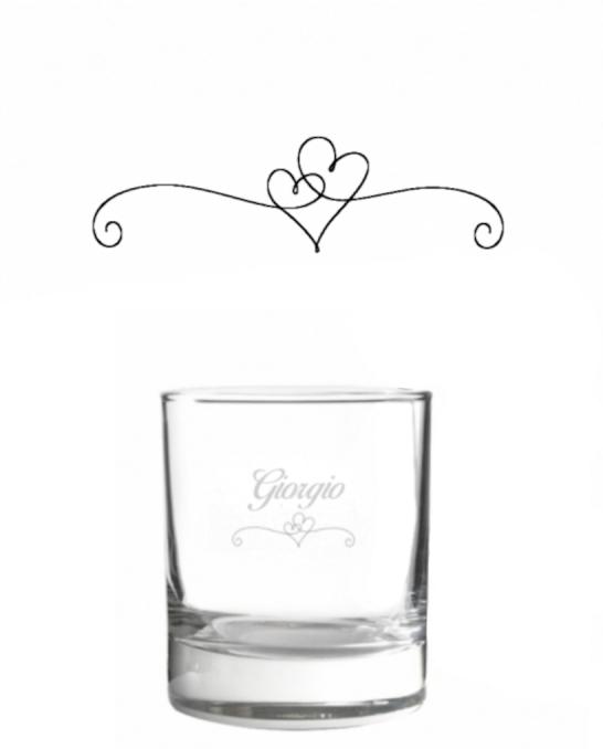 Bicchieri Personalizzati Singoli ,Modello Cuore Bicchiere whisky in vetro 30 cl 1 pezzo