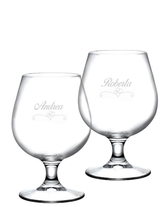 Bicchieri Personalizzati Coppia ,Modello Cuori Bicchiere Birra snifter 53 cl 2 pezzi