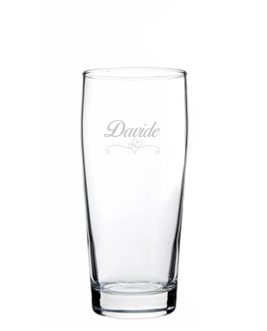Bicchieri Personalizzati Singoli ,Modello Cuori Bicchiere Birra Willy 33 cl 1 pezzo
