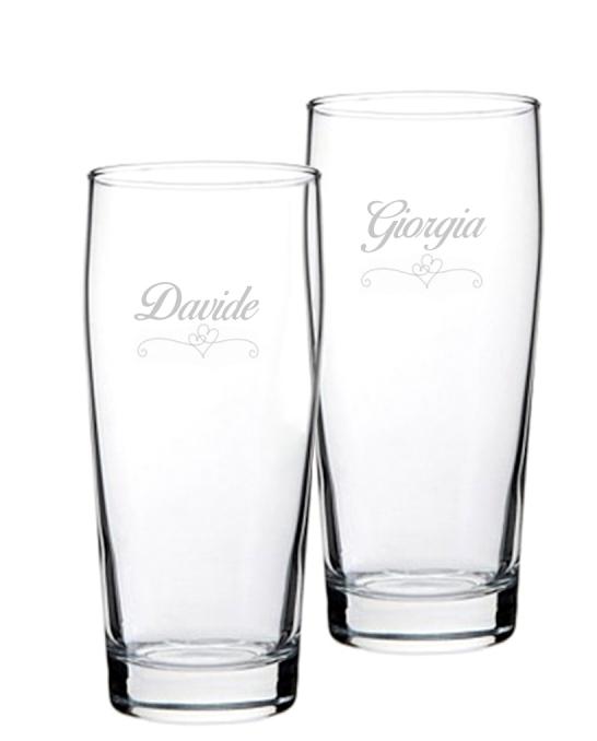 Bicchieri Personalizzati Coppia ,Modello Cuori Bicchiere Birra Willy 33 cl 2 pezzi