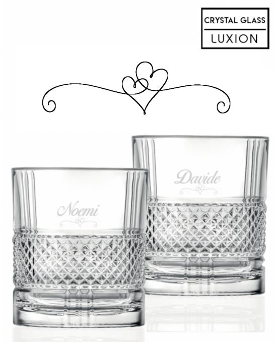 Bicchieri Personalizzati Coppia ,Modello Cuori Bicchiere whisky in cristallo 34 cl 2 pezzi