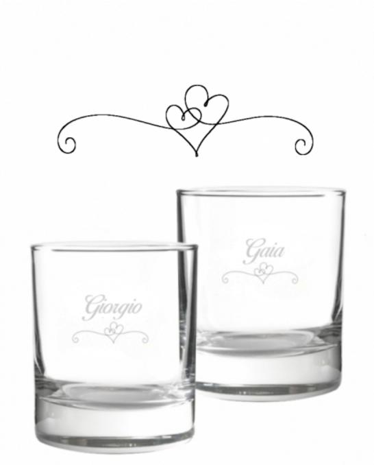 Bicchieri Personalizzati Coppia ,Modello Cuori Bicchiere whisky in vetro 30 cl 2 pezzi