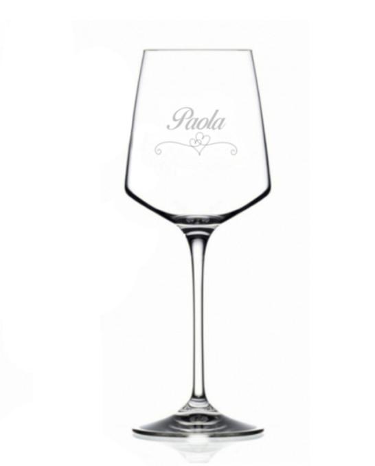 Bicchieri Personalizzati Singoli ,Modello Cuori Calice Vino bianco Cristallo RCR 46 cl 1 pezzo