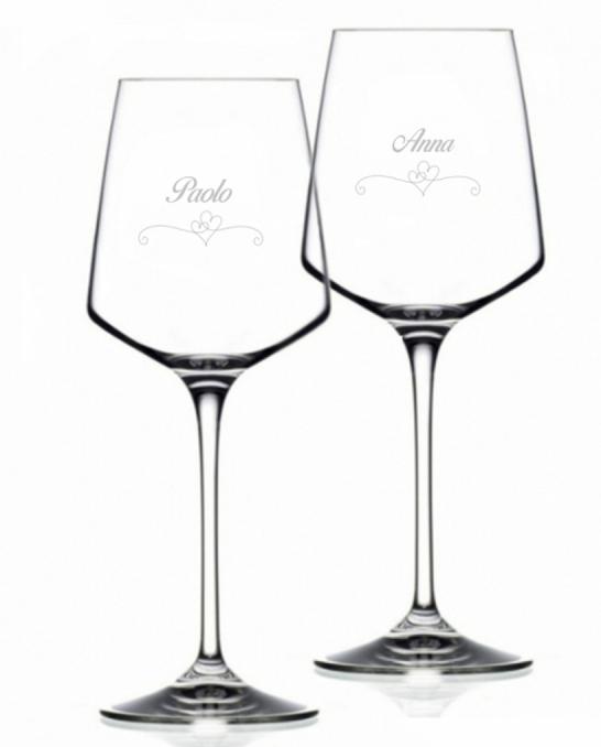 Bicchieri Personalizzati Coppia ,Modello Cuori Calice Vino bianco Cristallo RCR 46 cl 2 pezzi