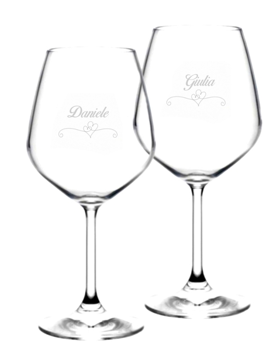 Bicchieri da Vino e Acqua personalizzati ,Modello Cuori Calice Vino rosso 52.5 cl 2 pezzi