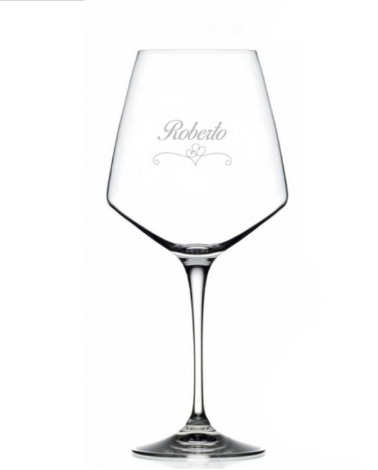 Bicchieri Personalizzati Singoli ,Modello Cuori Calice Vino rosso Cristallo RCR 79 cl 1 pezzo