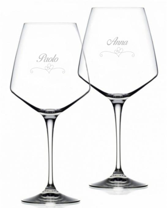 Bicchieri Personalizzati Coppia ,Modello Cuori Calice Vino rosso Cristallo RCR 79 cl 2 pezzi